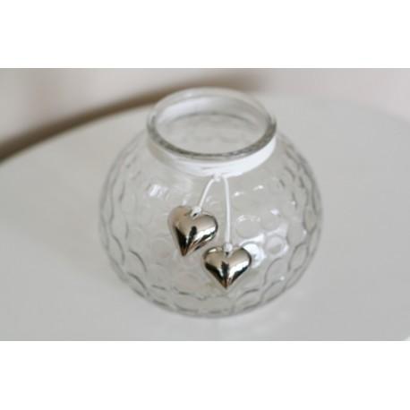 Deco glas / vaas /waxinehouder met hartjes 13 cm hoog