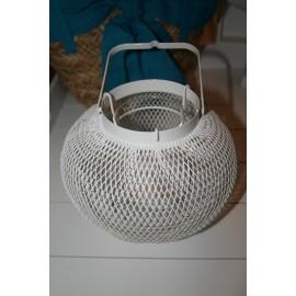 Wit metalen windlicht rond 16 cm
