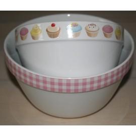 Set van 2 bowls met cupcake /roze geruite rand 10 x 17 cm