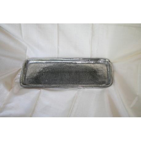 Schaal rechthoek 31 x 11 cm ruw nikkel