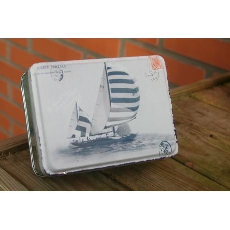 Opbergdoosje zeilboot creme/blauw 11 x 8x 4 cm
