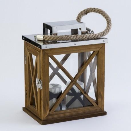 Lantaarn medium hout met ijzeren dak + touw