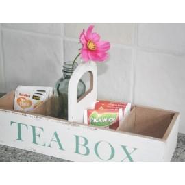Teabox hout, wit 27x 10 x 6cm