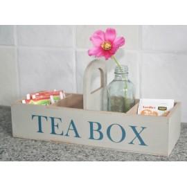 Teabox hout, beige / lichtgrijs 27x 10 x 6cm