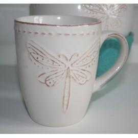 Mug Dragonfly /Libelle wit 10,5 x 8,5 cm