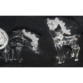 Glass deer set /2 in box (5x2x6cm)