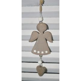 Engel hanger hout grijs 16 x 6 cm