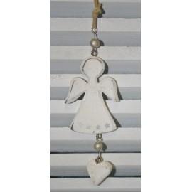 Engel hanger hout wit 16 x 6 cm