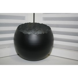 Metal round Ball hurricane Medium 15 cm, zwart+zilver