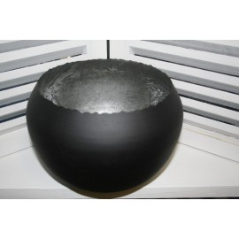 Metal round Ball hurricane Large 23 cm, zwart +zilver