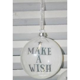 Glazen kerstbal Make a wish 9 cm