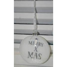 Glazen kerstbal Merry Xmas 9 cm