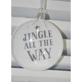 Glazen kerstbal Jingle all the way 9 cm