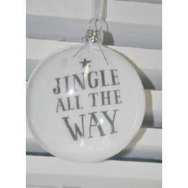 Glazen kerstbal Jingle all the way 9 cm