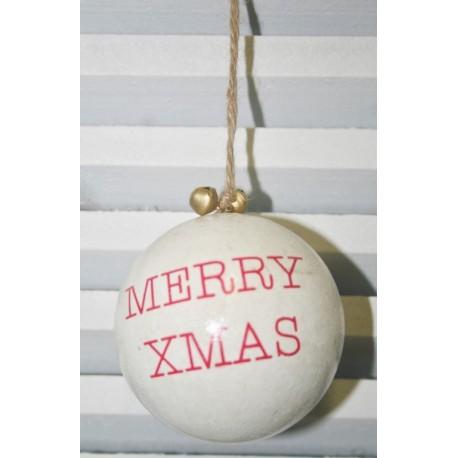Houten kerstbal merry xmas wit /rood 7cm