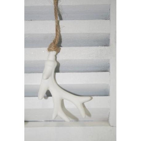 Gewei wit hangend aan touw (S) 8 cm