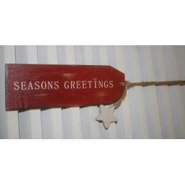 """Houten tekstbord rood """"Seasons Greetings"""" /18 cm"""