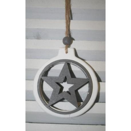 Houten hanger rond met ster 9cm
