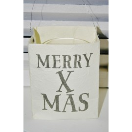 "Paper Bag Candle holder quote: ""Merry Xmas"" 12 x 10 cm"