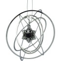 Spinning ball ornament zilver 8 cm