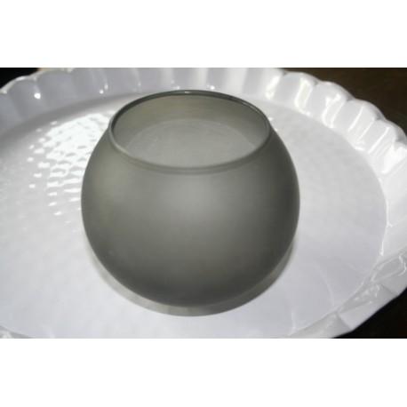 Zwart glazen waxinehouder + wit krijt 10 x 11 cm
