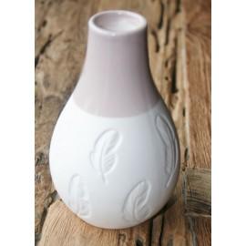 Vaas porcelein veer wit + taupe