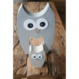 Uil grijs hout, set van 2
