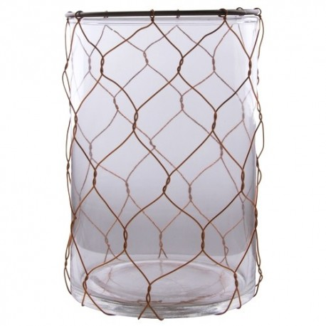 Glass hurricane+copper Wire Small 16x12 cm
