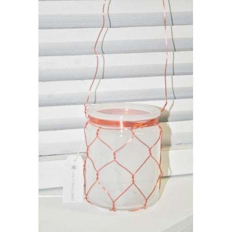 Glass hang tlight koper 10 cm