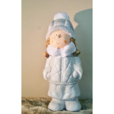 Kind winter keramiek wit/grijs 13 x 30 cm