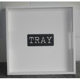 "Wit houten dienblad L met zwarte tekst ""tray"""