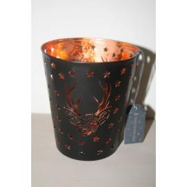 Metal Deer star M black /copper 12 cm