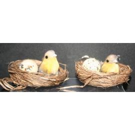 Set van 2 vogelnestjes bruintint 2x 7 cm