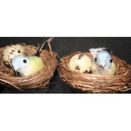 Set van 2 vogelnestjes blauwtint 2x 7 cm