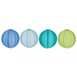 Lampion Led zon L-F blauw/groen/azuur L 40 x 40 cm