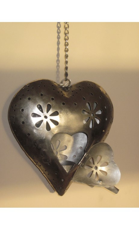 Heart T-light nickel 22 x 22 cm