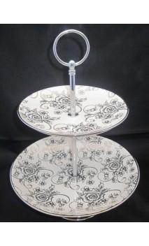 Etagere zilver/rozen hoog ca. 28 cm