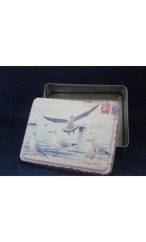 Metalen doosje met zeemeeuw 10,7 x 3,5 cm