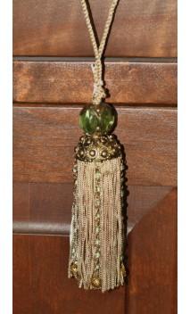 Tassel brass cap goudkleurig met kraal 21 cm