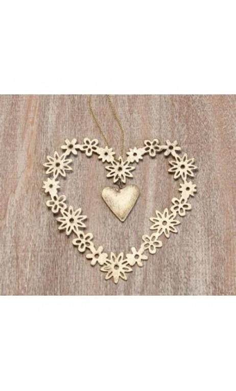 Hanger hart 11 x 11 cm wit/zilver