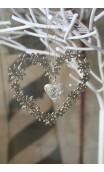 Hanger hart 11 x 11 cm zilver in lentetak