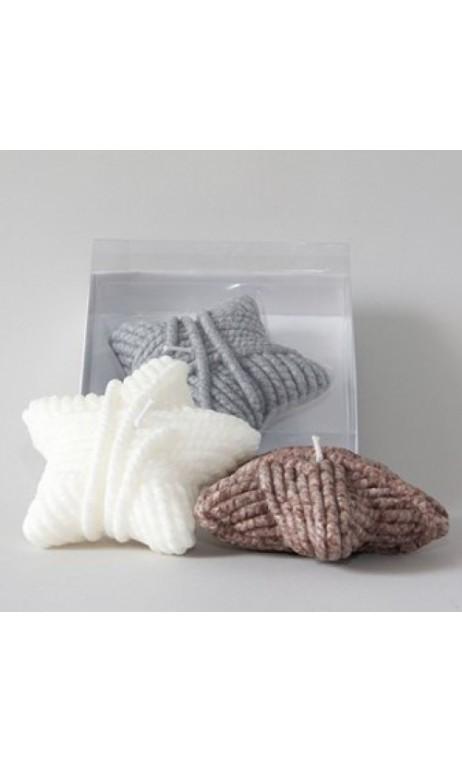 Ster kaars, bol wol in wit, prijs per stuk