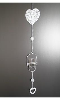 Metalen hanger hart met glazen waxinehouder 70 cm