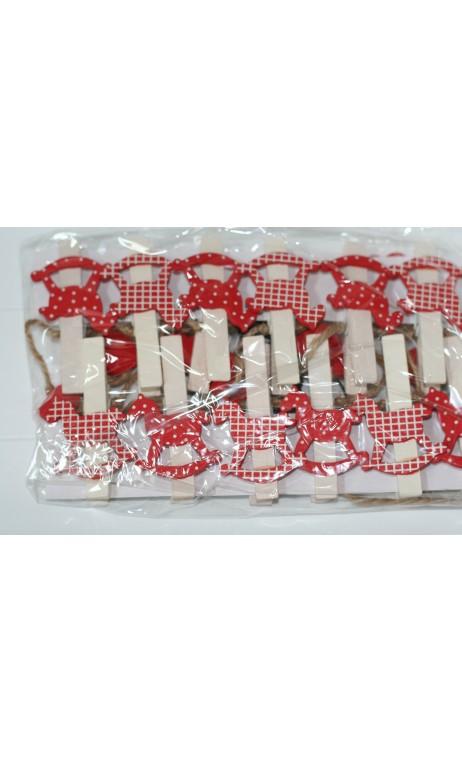 Slinger hartjes met hobbelpaard knijpertjes 160 cm