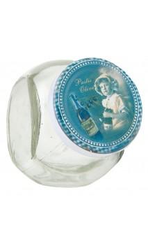 Glazen voorraadpotje blauw deksel