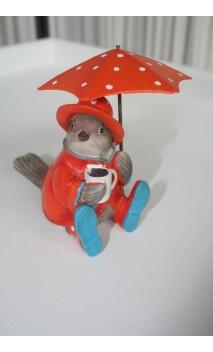 Vogeltje zittend met paraplu oranje