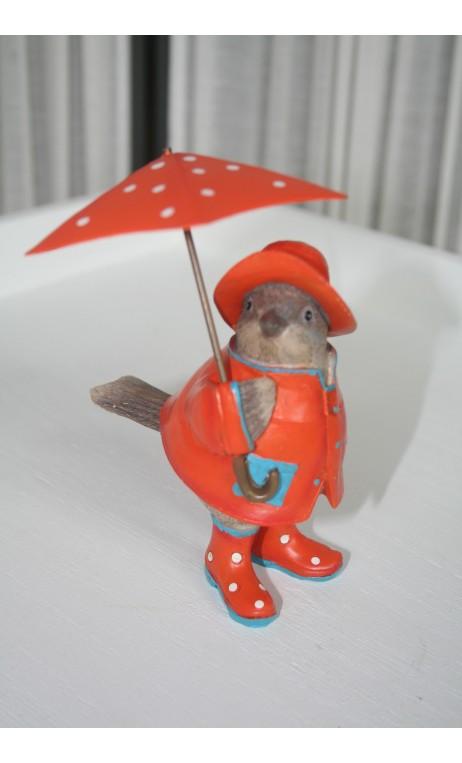 Vogeltje staand oranje met paraplu
