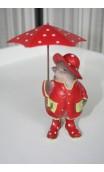 Vogeltje staand rood met paraplu