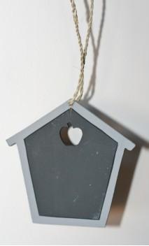 Huisje krijtbord grijs 10 cm