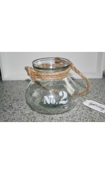 Windlicht Nr. 2 glas met handvat van touw